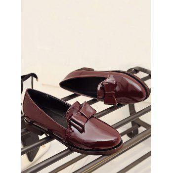 Plus Size Bow Chunky Heel Retro Loafers - RED WINE 43