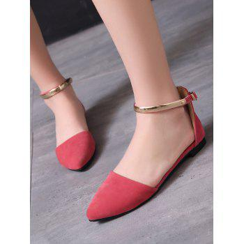 Plus Size Ankle Strap Buckled Pointed Toe Sandals - WATERMELON PINK 40