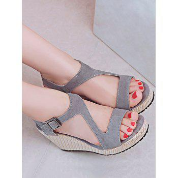 Plus Size Leisure Beach Espadrille Wedge Heel Sandals - GRAY CLOUD 41