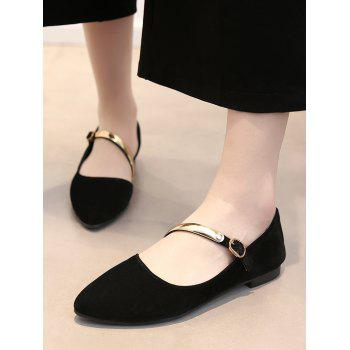 Plus Size Metallic Buckled Pointed Toe Flats - BLACK 39
