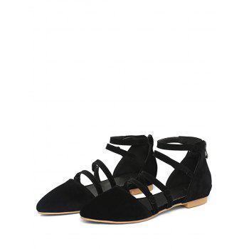 Plus Size Pointed Toe Strappy Chic Sandals - BLACK 38