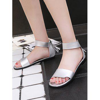 Plus Size Flat Heel Casual Vacation Sandals - SILVER 37