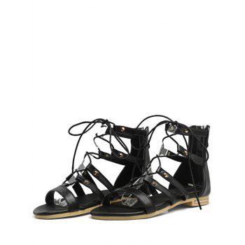 Plus Size Crisscross Ankle Strap Flat Heel Sandals - BLACK 42