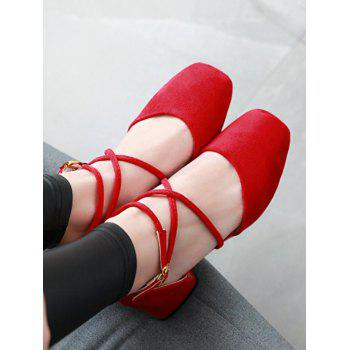Plus Size Ankle Strap Low Heel Leisure Pumps for Party - FIRE ENGINE RED 38