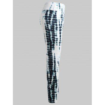 Tie Dyed Printed Chunky Waist Leggings - WHITE L
