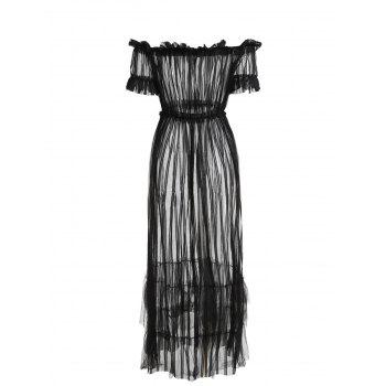 Off Shoulder Sheer Mesh Long Cover-up Dress - BLACK L