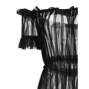 Off Shoulder Sheer Mesh Long Cover-up Dress - BLACK XL