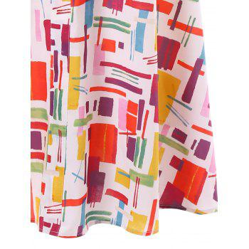 Spaghetti Strap Cut Out Print Dress - multicolor 2XL