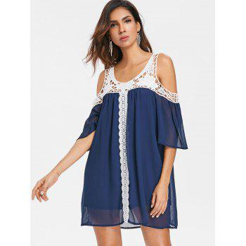 Hollow Out Crochet Shift Dress - DENIM DARK BLUE XL