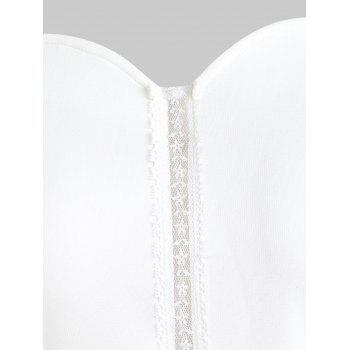 Floral Lace Panel Sleeveless Flare Dress - WHITE M