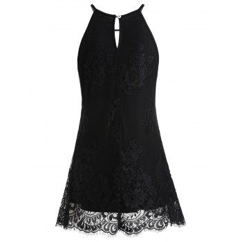 Sleeveless Lace Tunic Blouse with Crochet - BLACK L