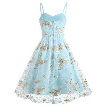Mesh Panel Swing Midi Dress with Floral Embroidery - LIGHT BLUE L
