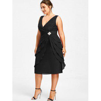 Plus Size Sleeveless Tiered Surplice Dress - BLACK 5XL