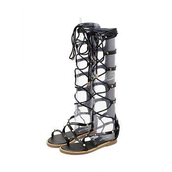 Studded Strappy Lace Up Gladiator Sandals - BLACK 39