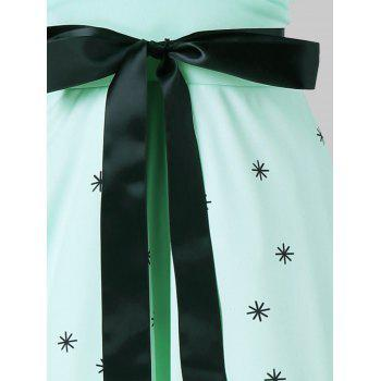Retro Cat Print Midi Pin Up Dress - GREEN XL