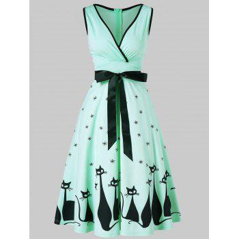 Retro Cat Print Midi Pin Up Dress