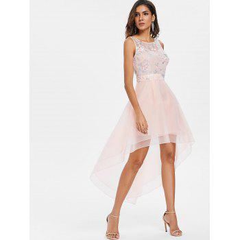 Mesh Floral Embroidered Dovetail Asymmetric Dress - PINK 2XL