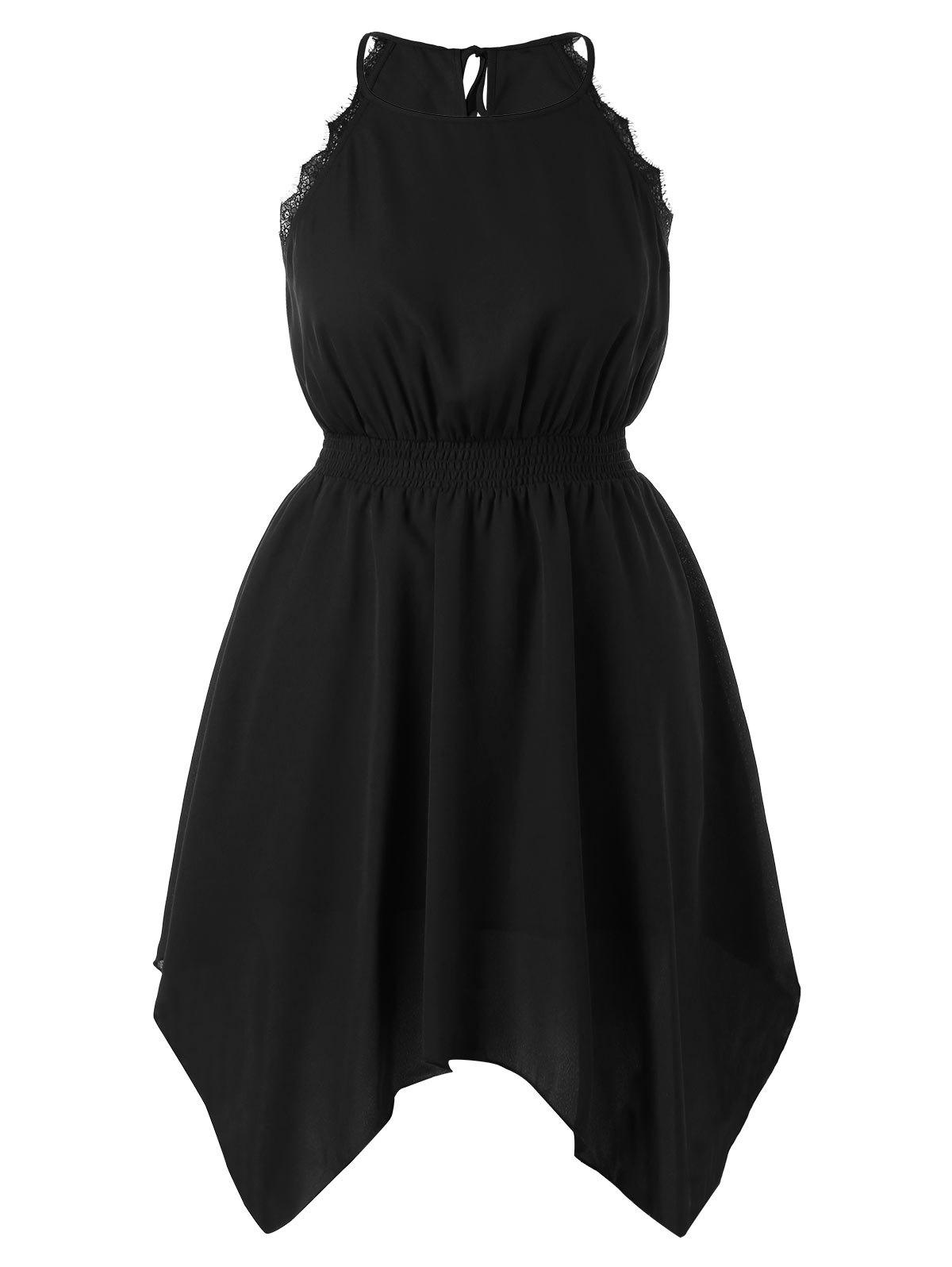 Plus Size Lace Trim Spaghetti Strap Dress - BLACK L