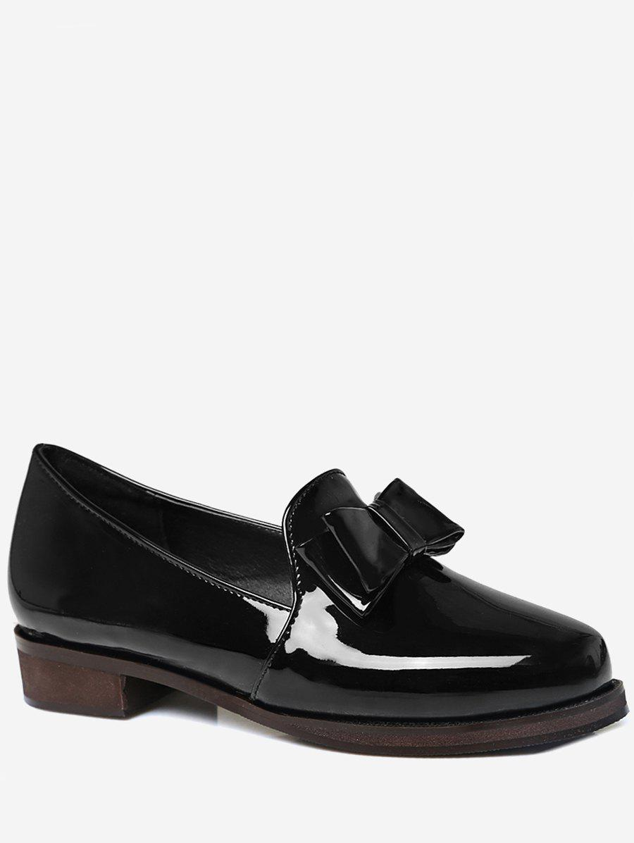Plus Size Bow Chunky Heel Retro Loafers - BLACK 43