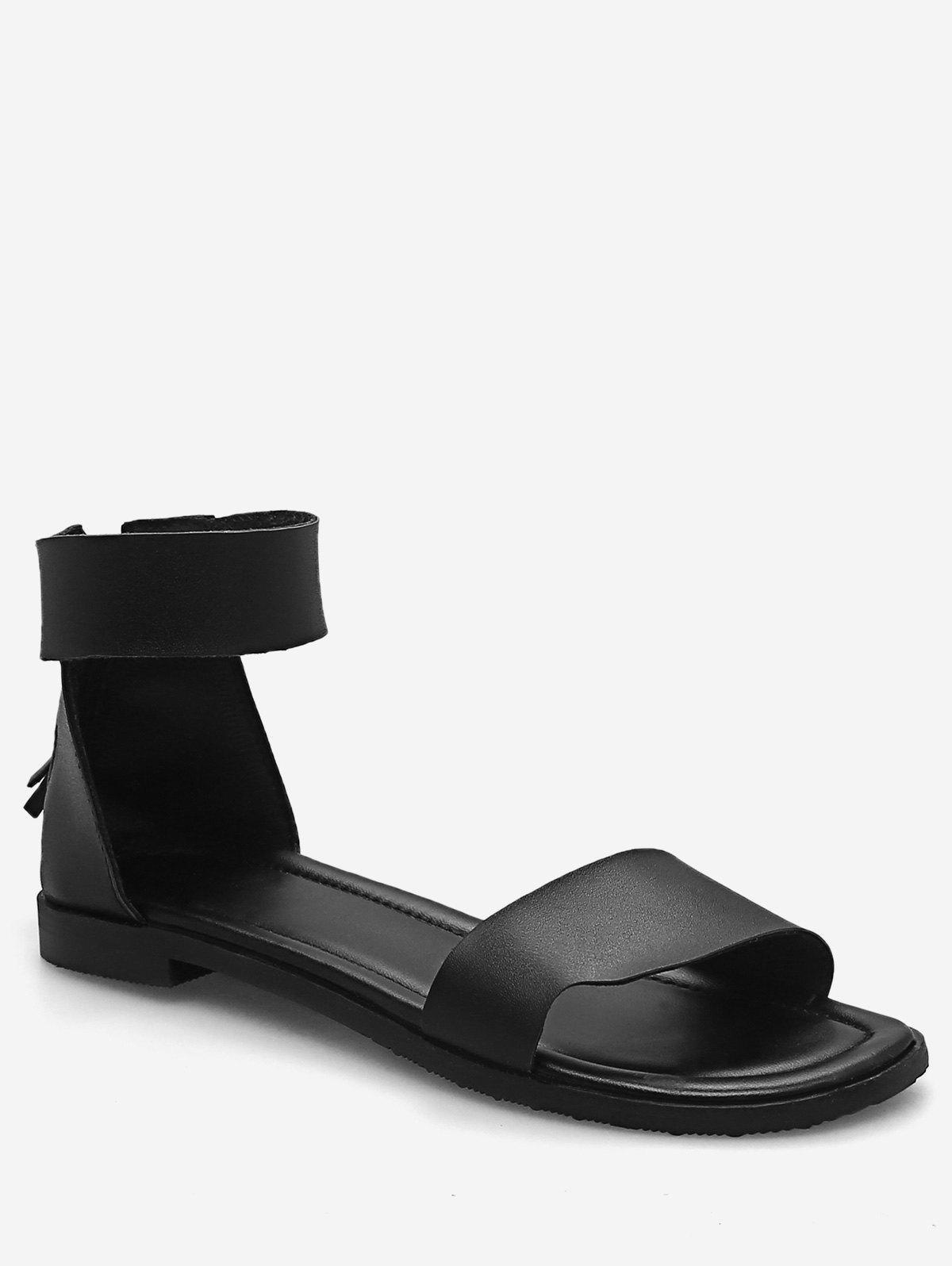 Plus Size Flat Heel Casual Vacation Sandals - BLACK 42