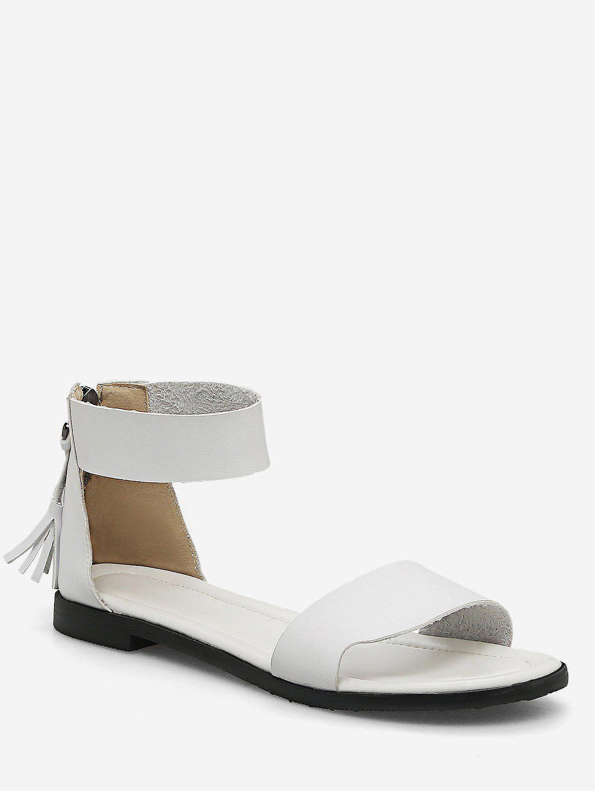 Plus Size Flat Heel Casual Vacation Sandals - WHITE 43