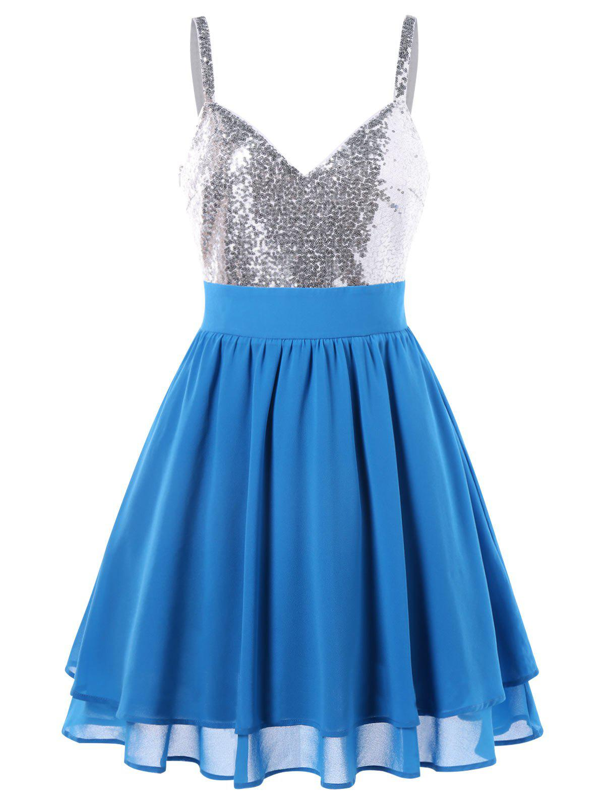 Sequin Panel Mini Skater Dress - CRYSTAL BLUE 2XL