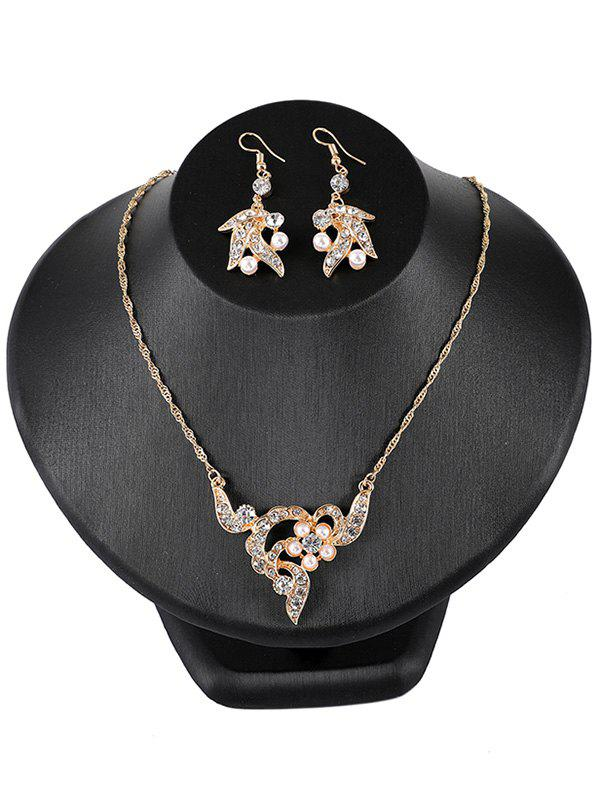 Vintage Rhinestone Inlaid Floral Pearl Pendant Necklace Earrings Set 100% new and original e3x na11 e3x zd41 omron photoelectric switch 12 24vdc 2m