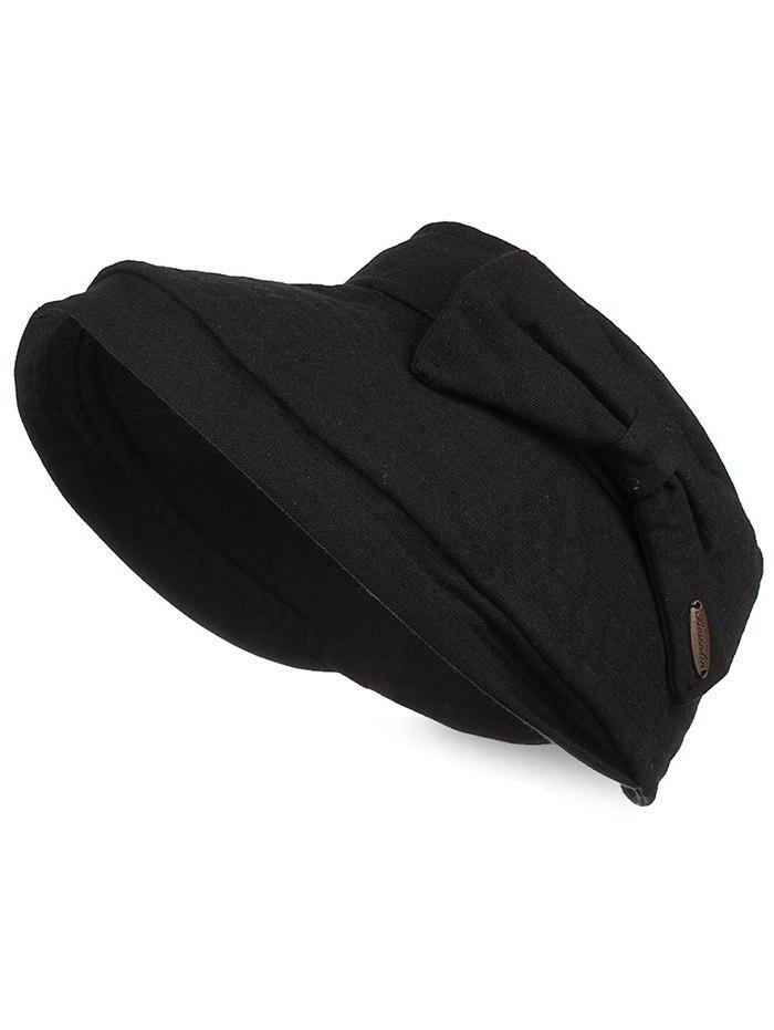 Outdoor Bowknot Open Top Foldable Beach Hat - BLACK