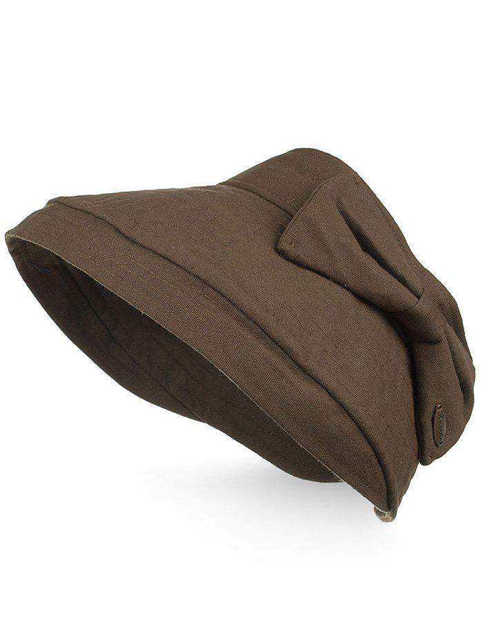 Outdoor Bowknot Open Top Foldable Beach Hat - COFFEE