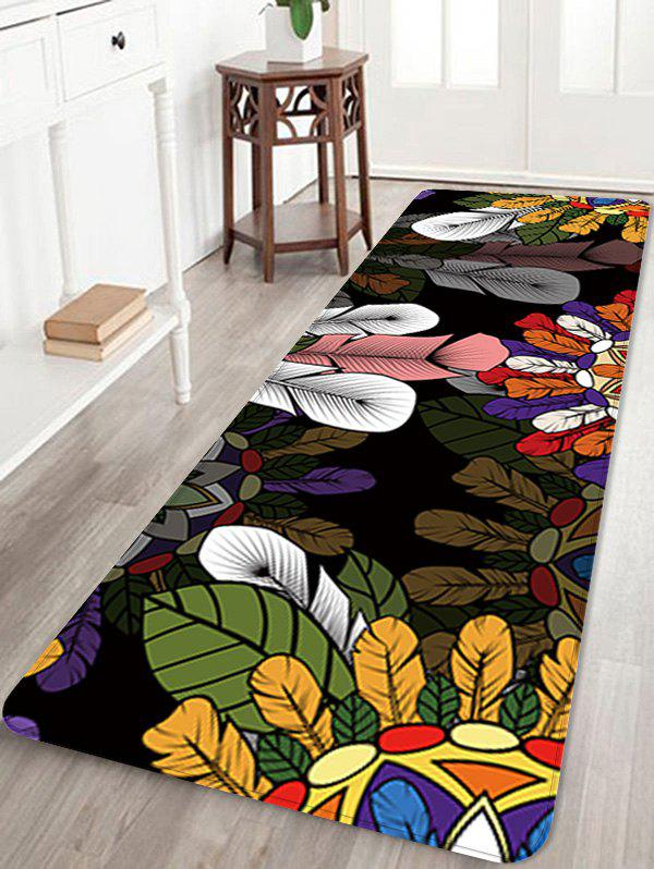 Feathers Leaves Pattern Anti-skid Flannel Area Rug oriental print flannel anti skid area rug