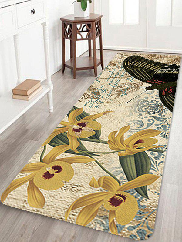 Butterfly and Flower Pattern Flannel Area Rug