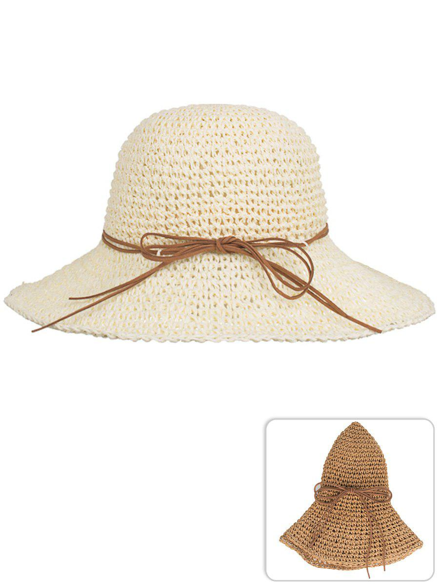 Anti UV Bowknot Foldable Straw Sunscreen Hat - BEIGE