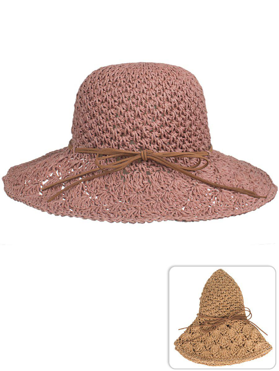 UV Protection Bowknot Hand Knitting Summer Hat - ROSY BROWN