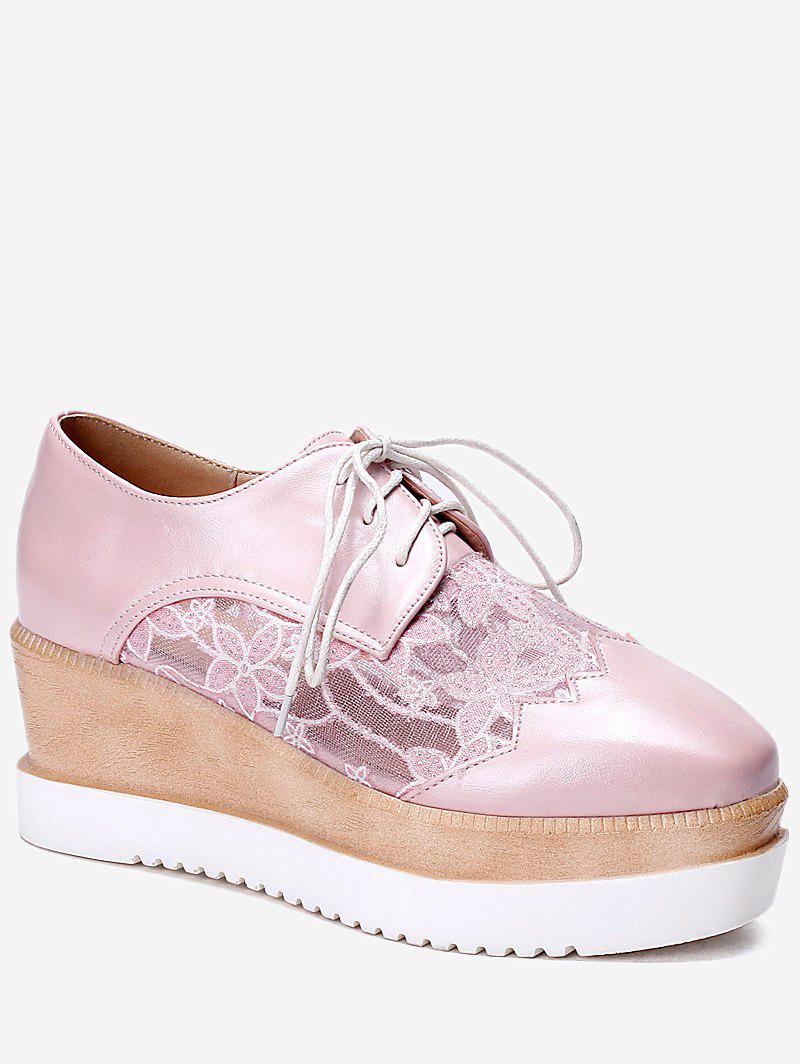 Plus Size Leisure Lace Outdoor Wedge Shoes - PINK 42