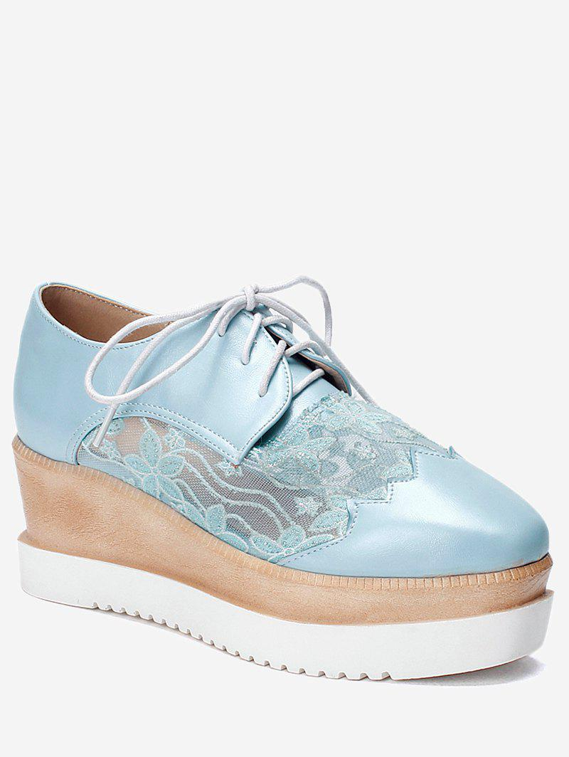 Plus Size Leisure Lace Outdoor Wedge Shoes - DAY SKY BLUE 40