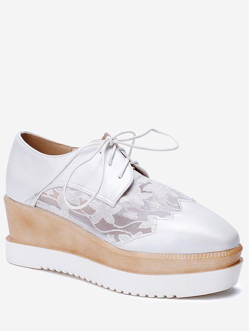 Plus Size Leisure Lace Outdoor Wedge Shoes - WHITE 43