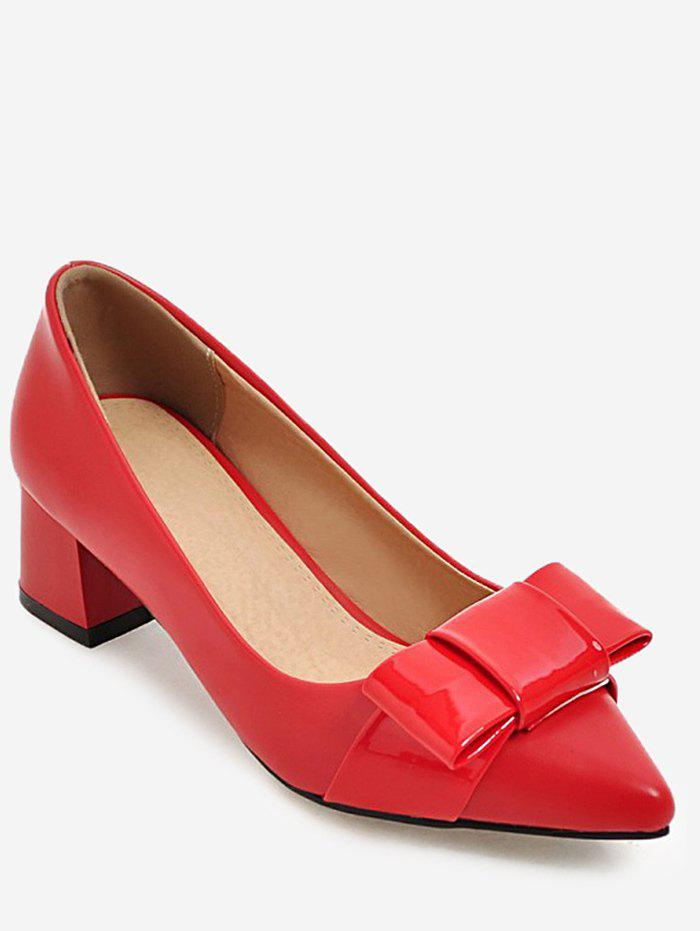 Plus Size Block Heel Party Leisure Pumps - LOVE RED 37