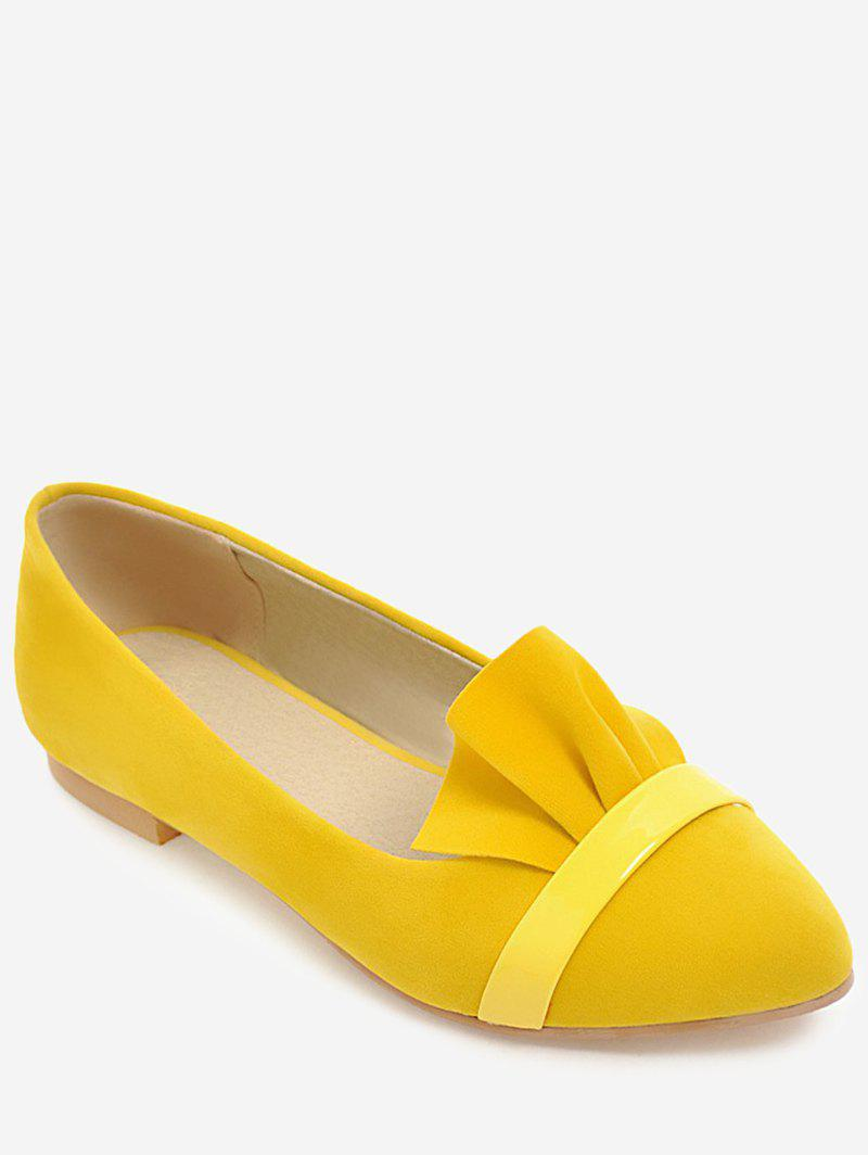 Plus Size Pointed Toe Leisure Flats - YELLOW 43