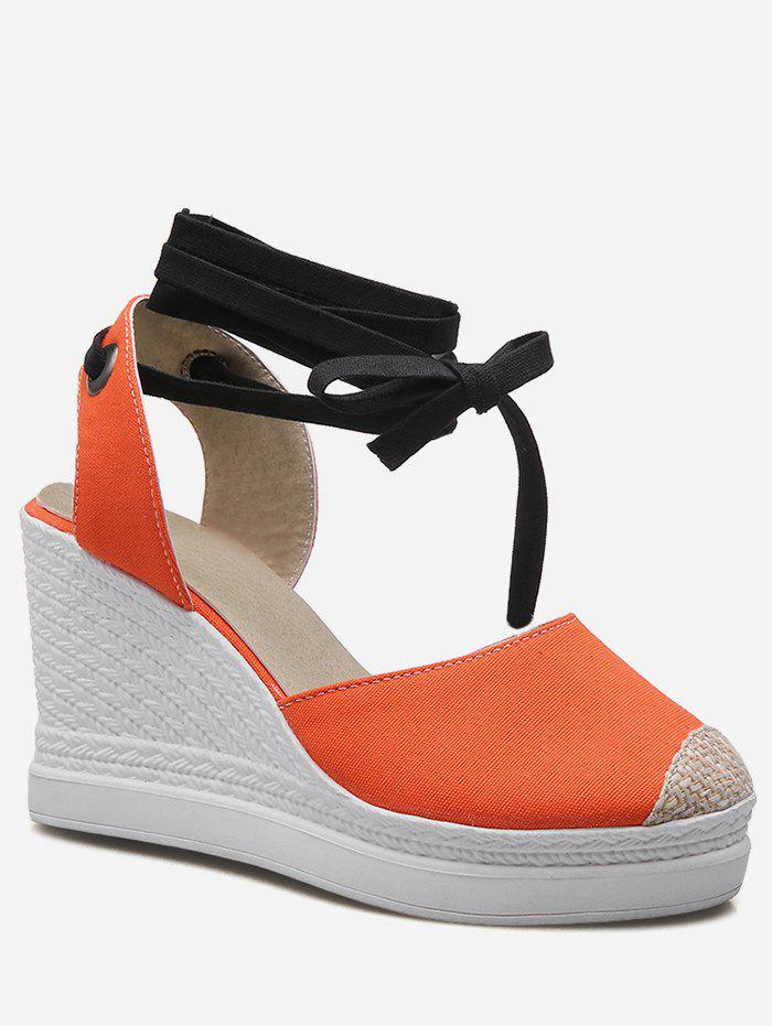 Plus Size Casual Espadrille Ankle Strap Wedge Shoes - PUMPKIN ORANGE 38