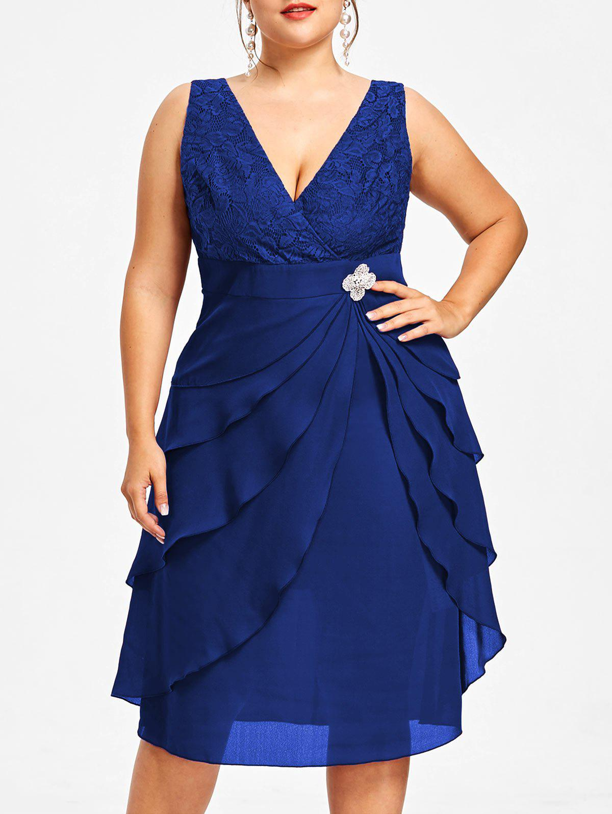 Plus Size Sleeveless Tiered Surplice Dress - BLUE 5XL