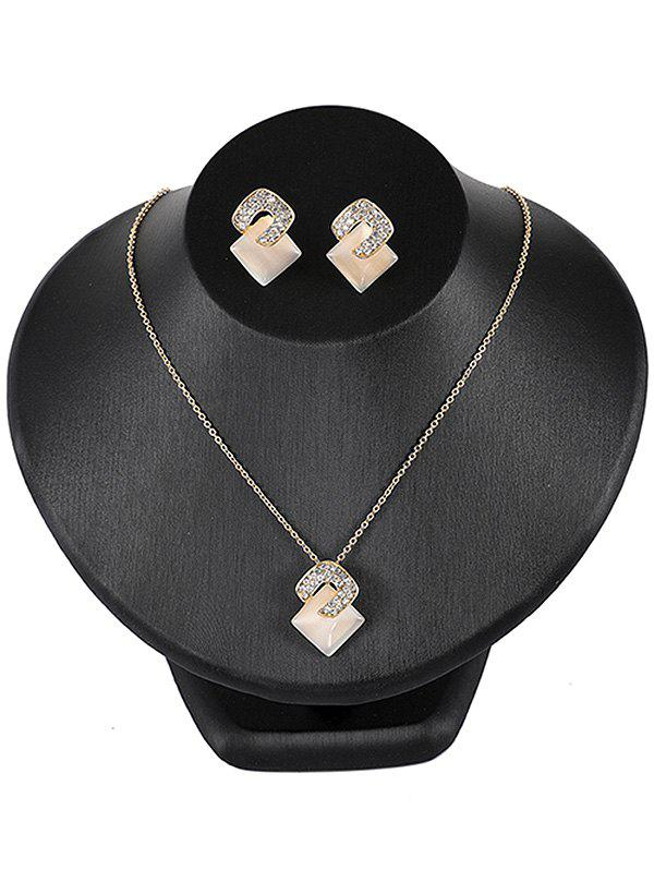 Shiny Rhinestone Inlaid Geometric Wedding Jewelry Set - GOLD