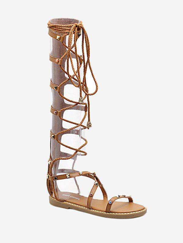 Studded Strappy Lace Up Gladiator Sandals 2017 summer new fashion women cross tied lace up gladiator sandals red suede high heel sandals