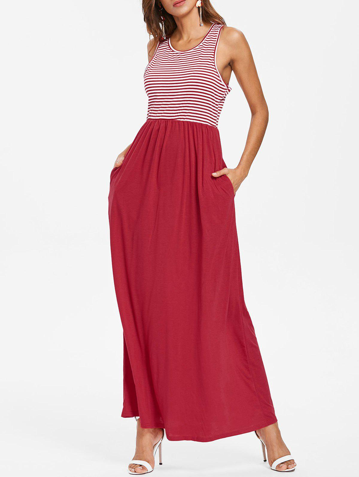 Striped Panel Maxi Dress - RED XL