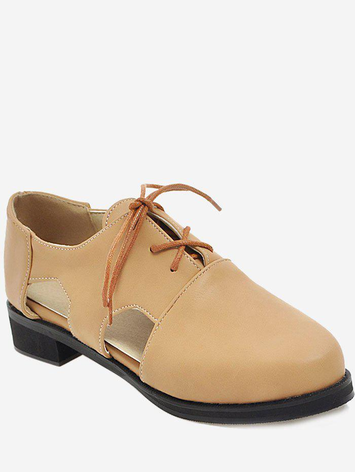 Plus Size Cork Heel Lace Up Casual Loafers olafur arnalds cork