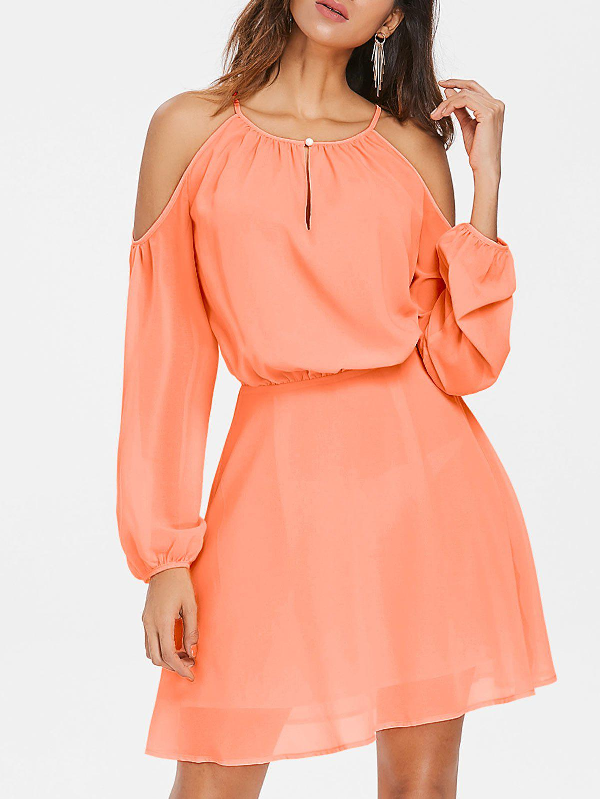 Cold Shoulder Short Blouson Dress - ORANGE PINK M