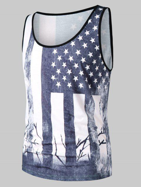 Retro USA Flag Print Tank Top - COLUMBIA BLUE XL