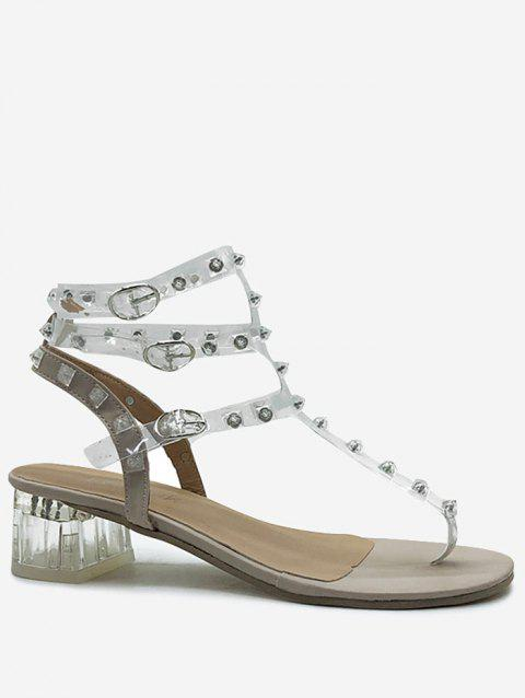 Lucid Strap Studs Block Heel Party Sandals - SILVER 39