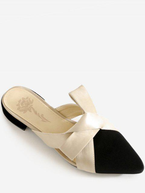 Plus Size Color Block Pointed Toe Knot Casual Mules Shoes - BLACK 41