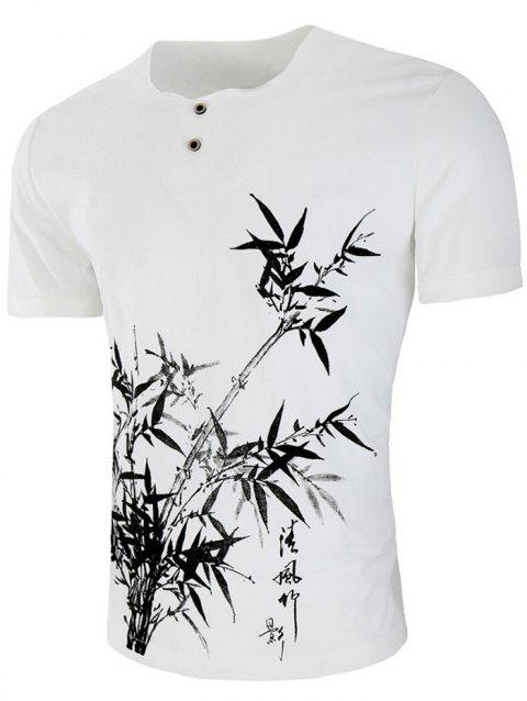 Button Embellished Chinese Bamboo Drawing T-shirt - WHITE XL