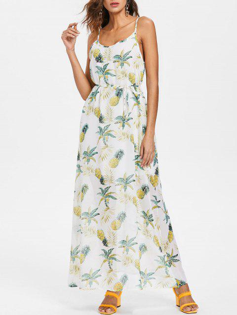 Spaghetti Strap Pineapple Print Maxi Dress - multicolor M